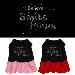 I Believe in Santa Paws Rhinestone Ruffle Dress