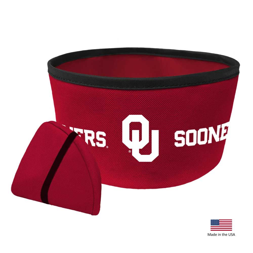 Oklahoma Sooners Collapsible Pet Bowl