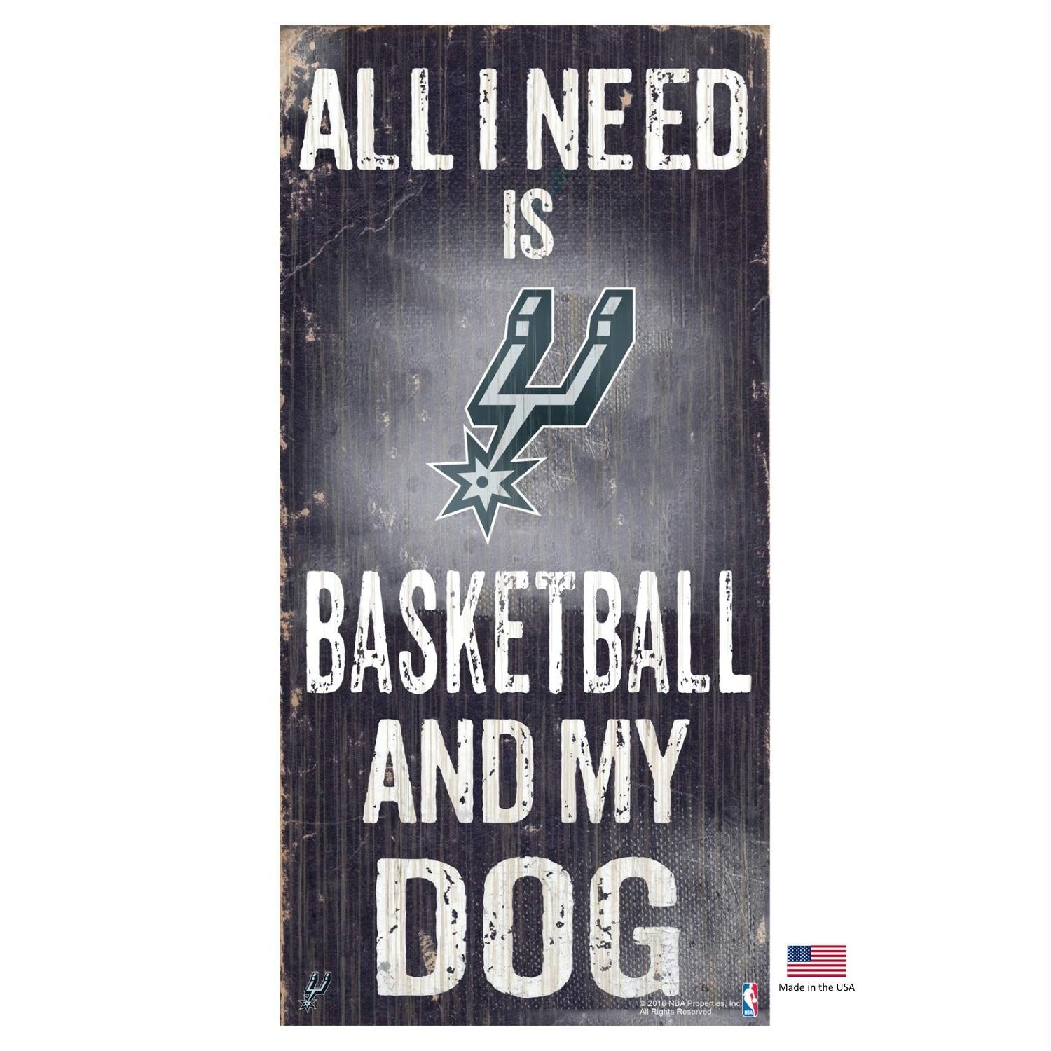 San Antonio Spurs Distressed Basketball And My Dog Sign - staygoldendoodle.com