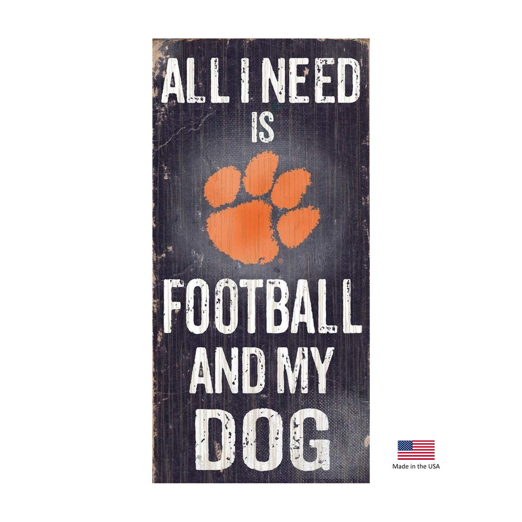 Clemson Tigers Distressed Football And My Dog Sign - staygoldendoodle.com