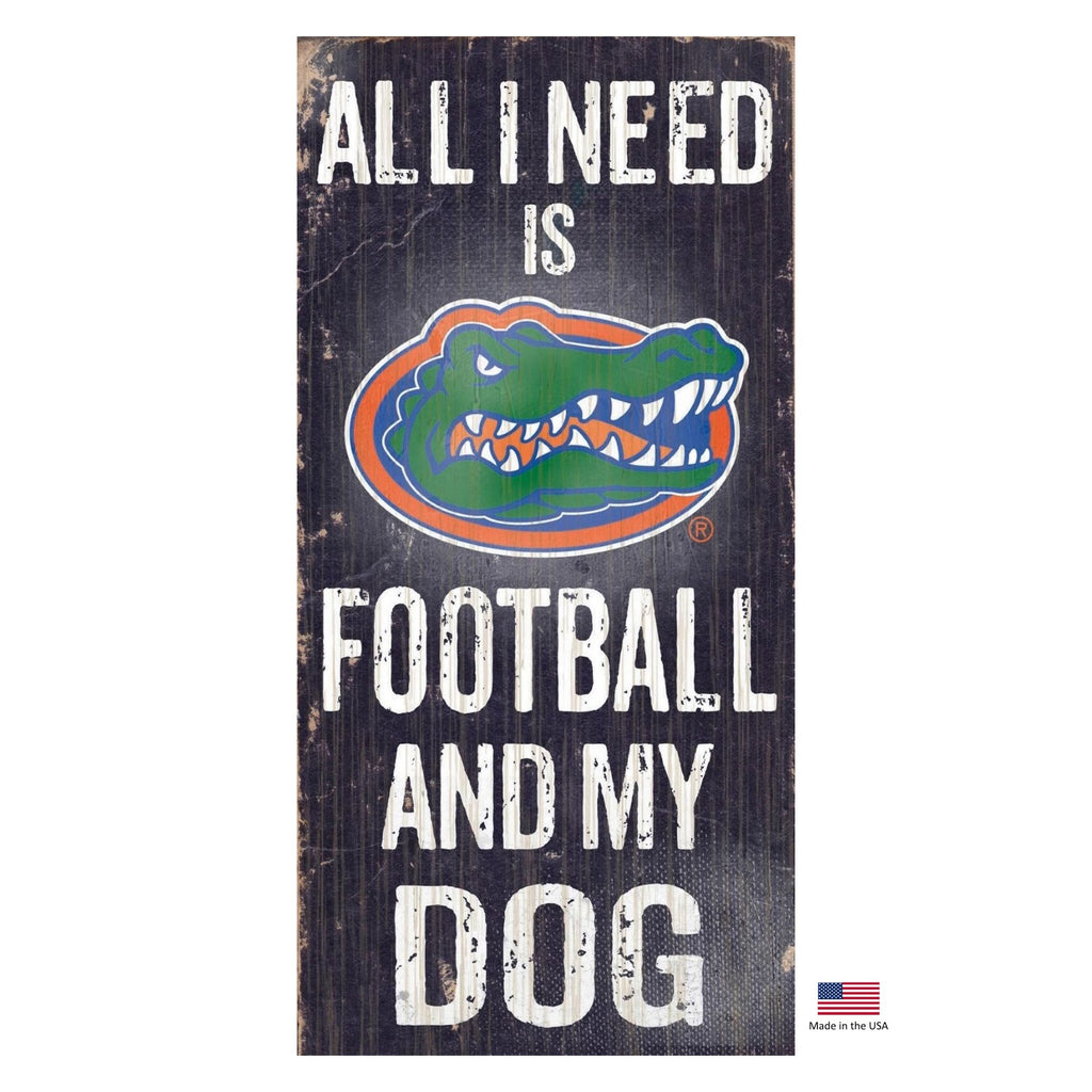 Florida Gators Distressed Football And My Dog Sign - staygoldendoodle.com