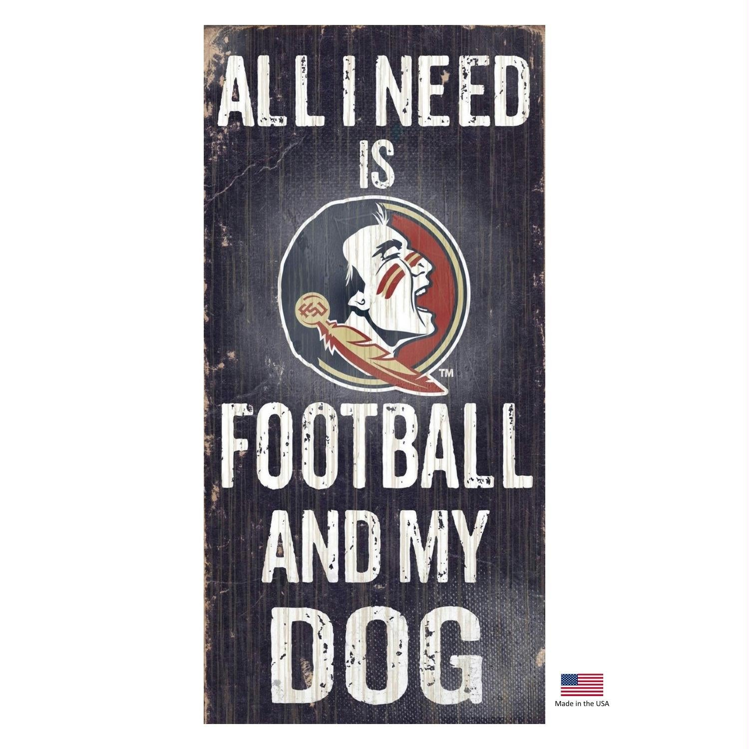 Florida State Seminoles Distressed Football And My Dog Sign - staygoldendoodle.com