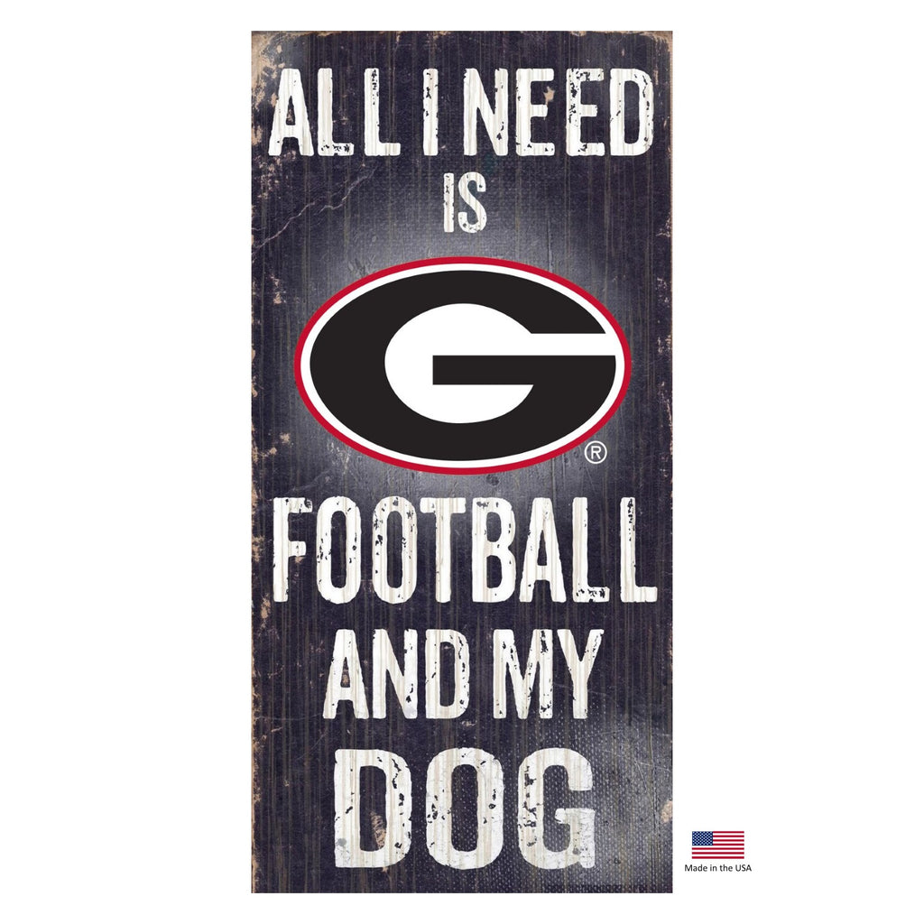 Georgia Bulldogs Distressed Football And My Dog Sign - staygoldendoodle.com