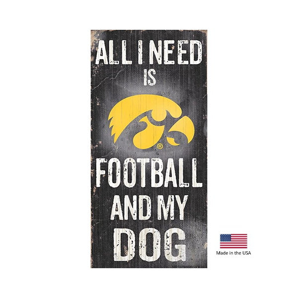 Iowa Hawkeyes Distressed Football And My Dog Sign - staygoldendoodle.com