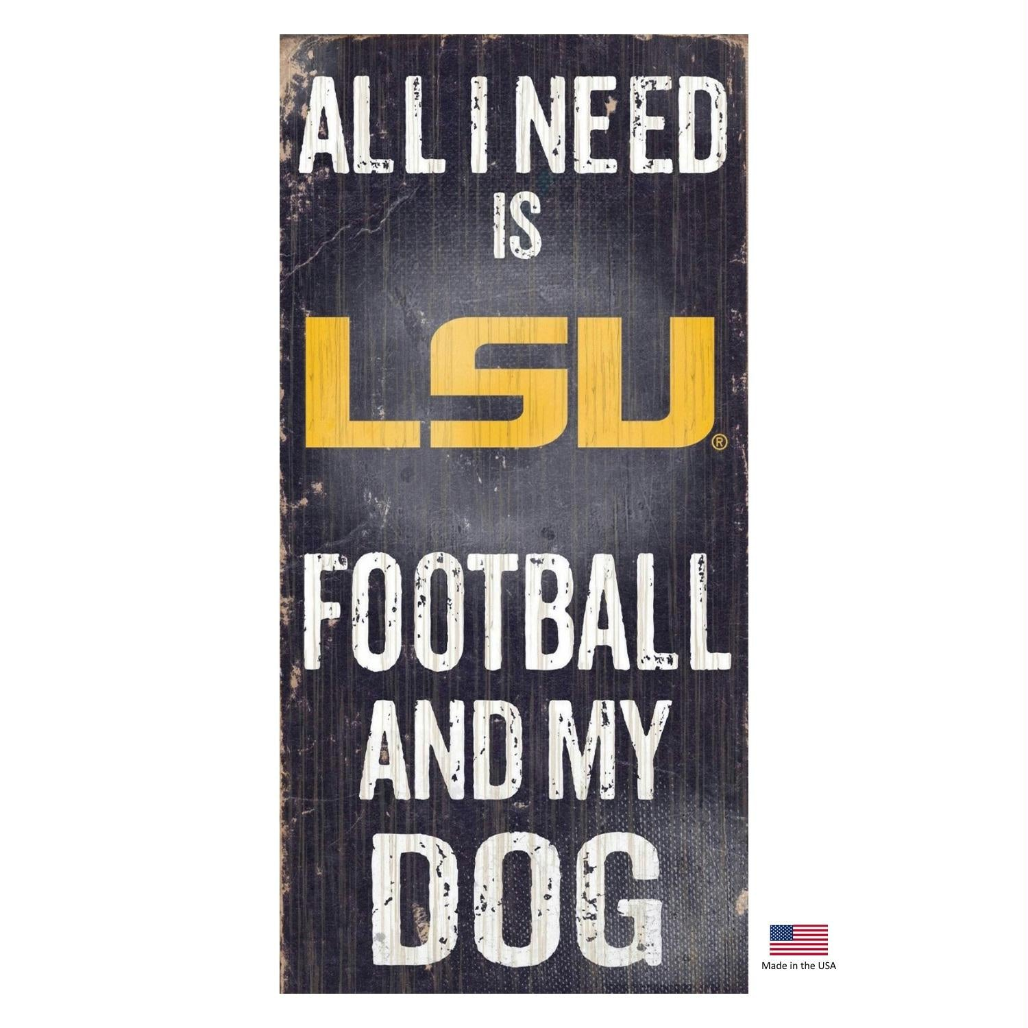 LSU Tigers Distressed Football And My Dog Sign - Stay Golden Doodle