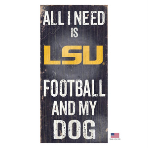 LSU Tigers Distressed Football And My Dog Sign - staygoldendoodle.com