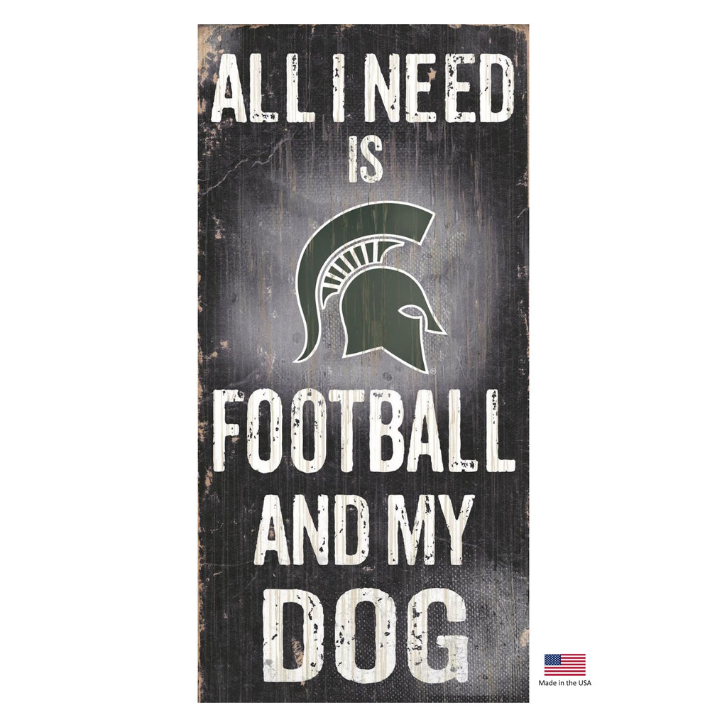 Michigan State Spartans Distressed Football And My Dog Sign - staygoldendoodle.com