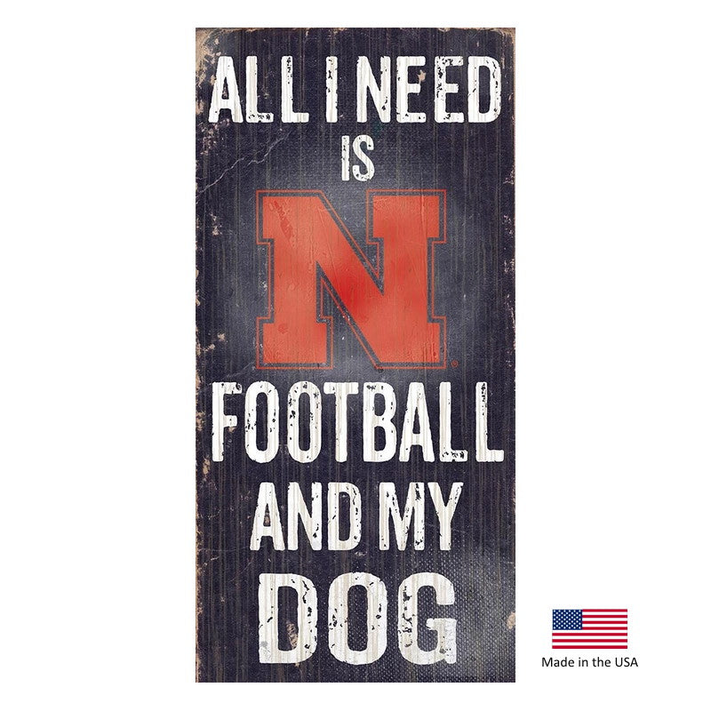 Nebraska Huskers Distressed Football And My Dog Sign - staygoldendoodle.com