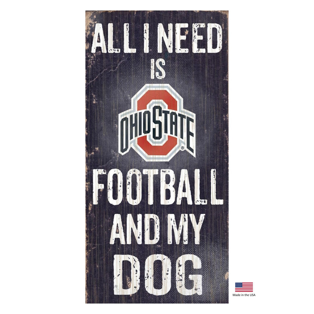 Ohio State Buckeyes Distressed Football And My Dog Sign - staygoldendoodle.com