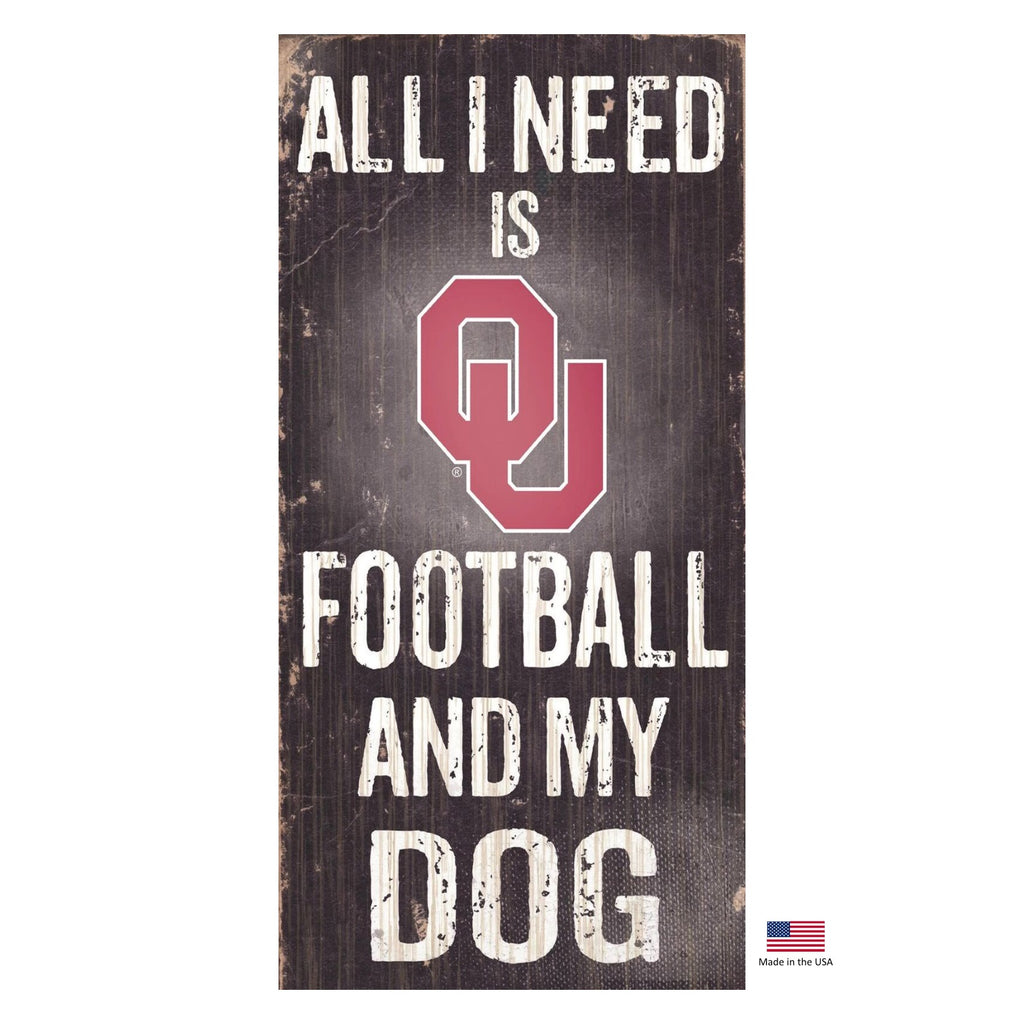 Oklahoma Sooners Distressed Football And My Dog Sign - staygoldendoodle.com
