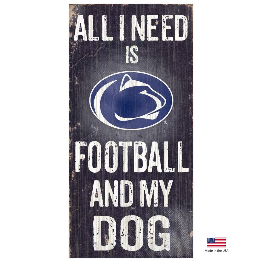 Penn State Distressed Football And My Dog Sign - staygoldendoodle.com