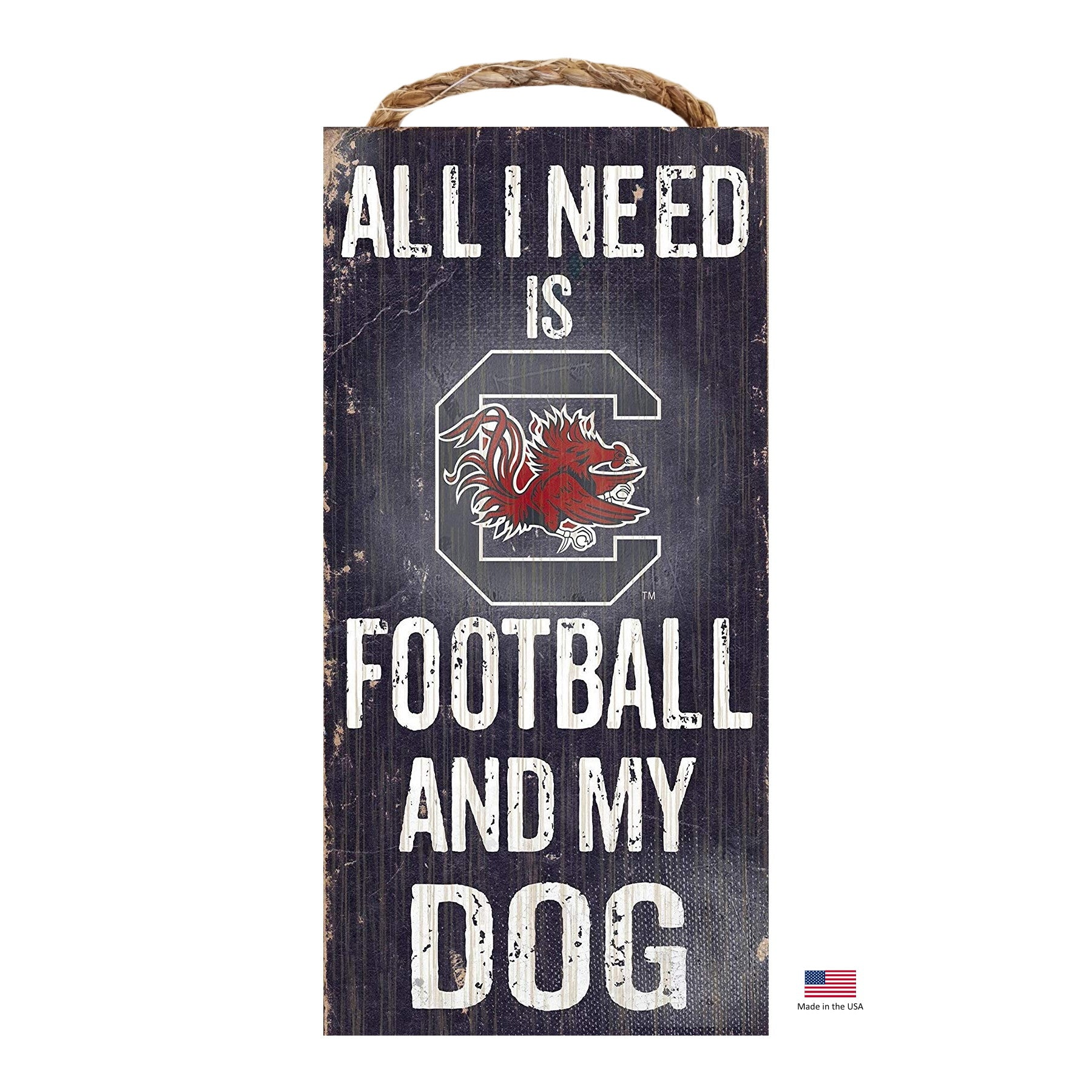 South Carolina Gamecocks Distressed Football And My Dog Sign - staygoldendoodle.com