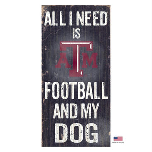 Texas A&M Aggies Distressed Football And My Dog Sign - staygoldendoodle.com