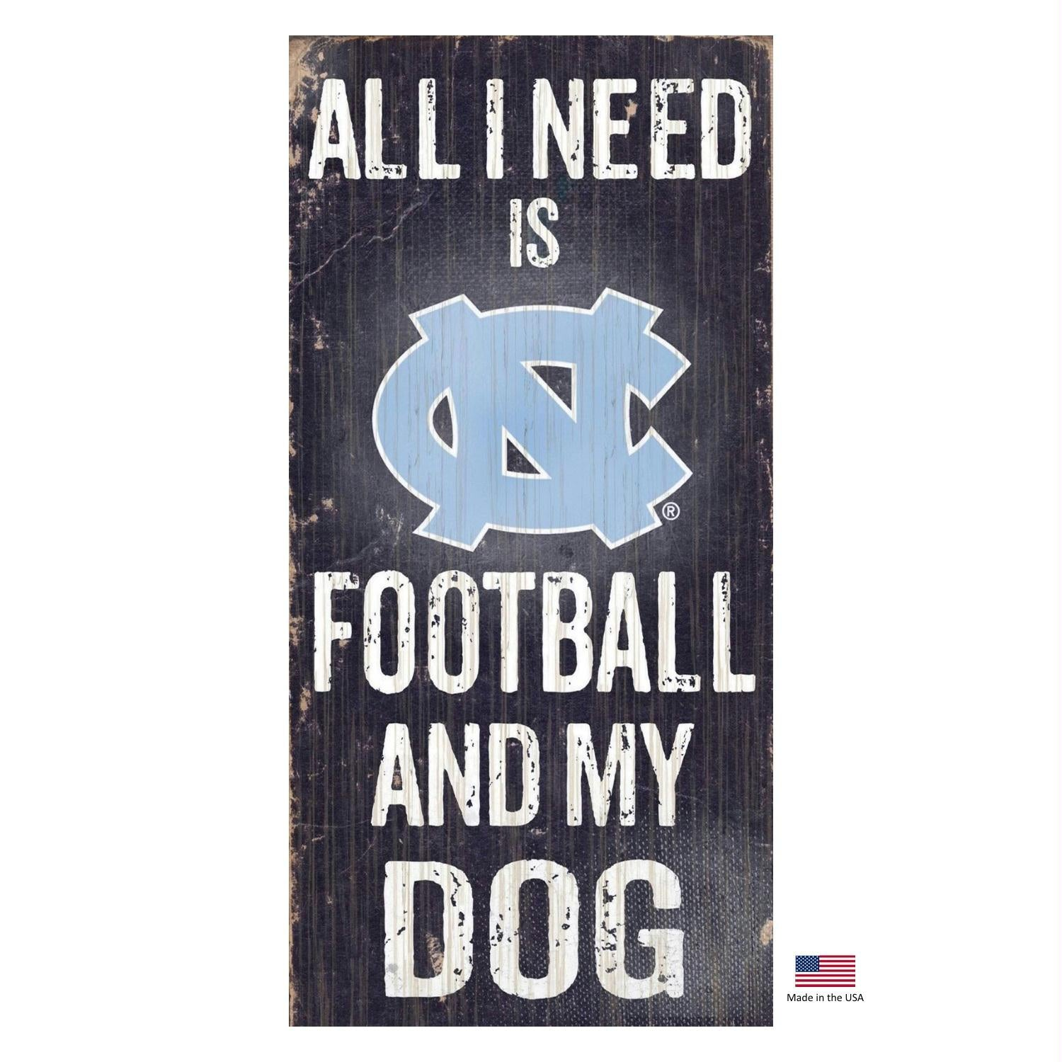 North Carolina Tarheels Distressed Football And My Dog Sign - staygoldendoodle.com