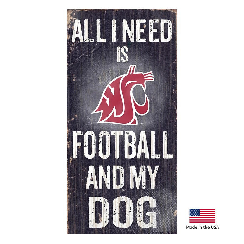 Washington State Cougars Distressed Football And My Dog Sign - staygoldendoodle.com