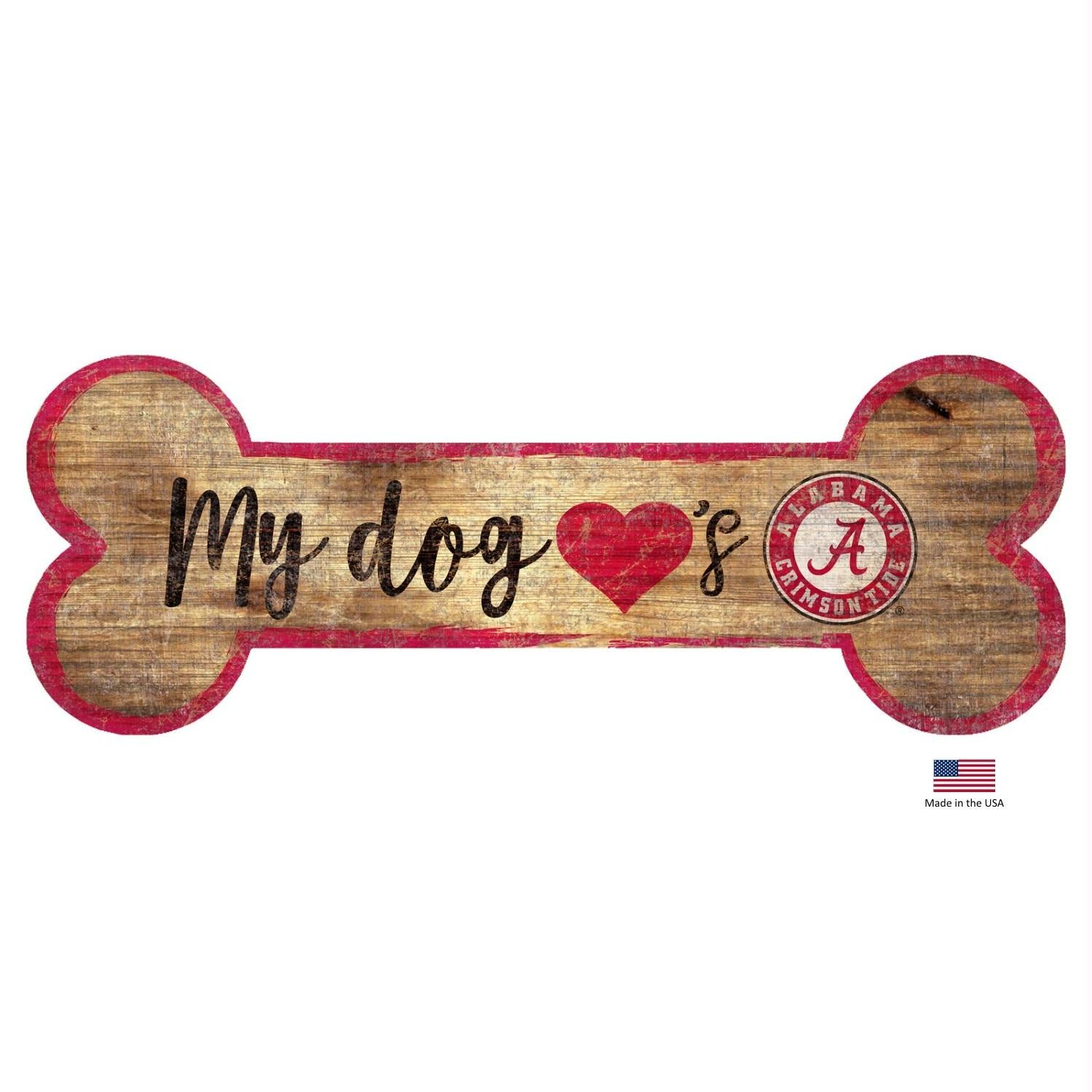 Alabama Crimson Tide Distressed Dog Bone Wooden Sign - staygoldendoodle.com