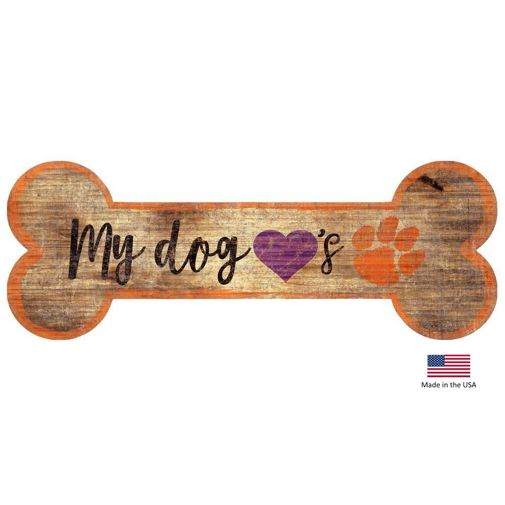 Clemson Tigers Distressed Dog Bone Wooden Sign - staygoldendoodle.com