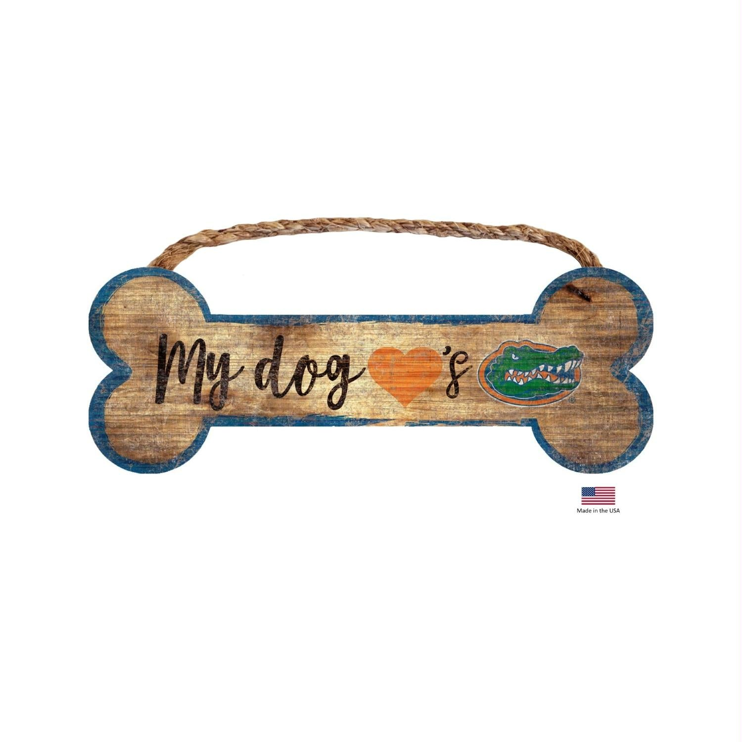 Florida Gators Distressed Dog Bone Wooden Sign - staygoldendoodle.com