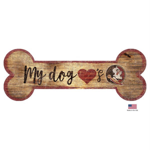 Florida State Seminoles Distressed Dog Bone Wooden Sign - Stay Golden Doodle
