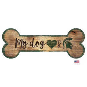Michigan State Spartans Distressed Dog Bone Wooden Sign - Stay Golden Doodle