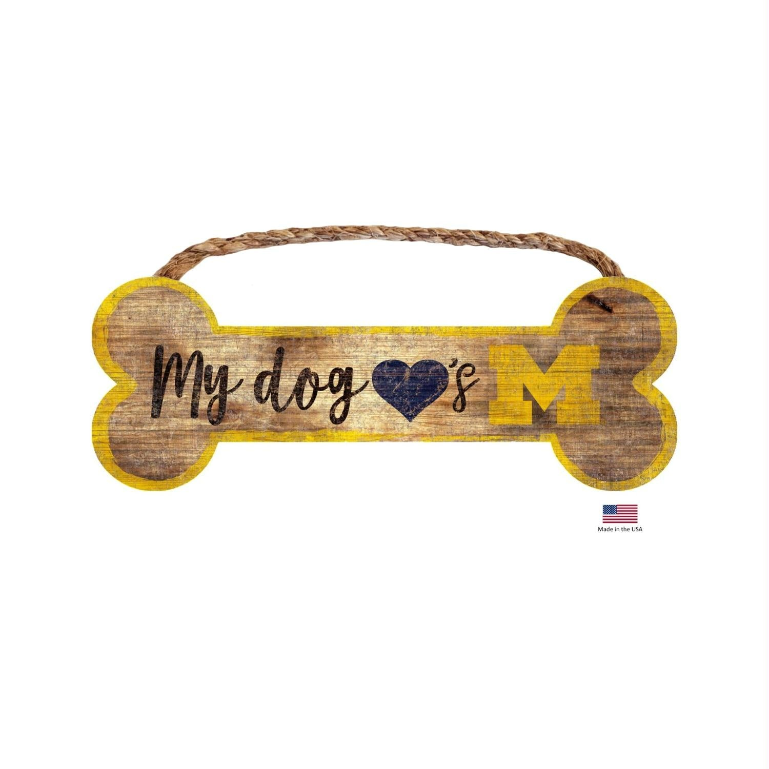Michigan Wolverines Distressed Dog Bone Wooden Sign - staygoldendoodle.com