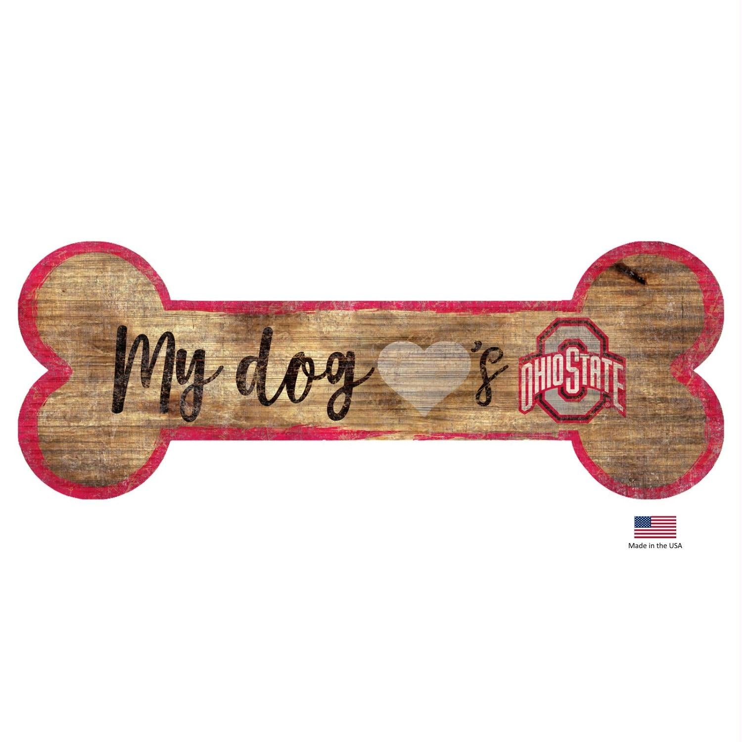 Ohio State Buckeyes Distressed Dog Bone Wooden Sign - staygoldendoodle.com