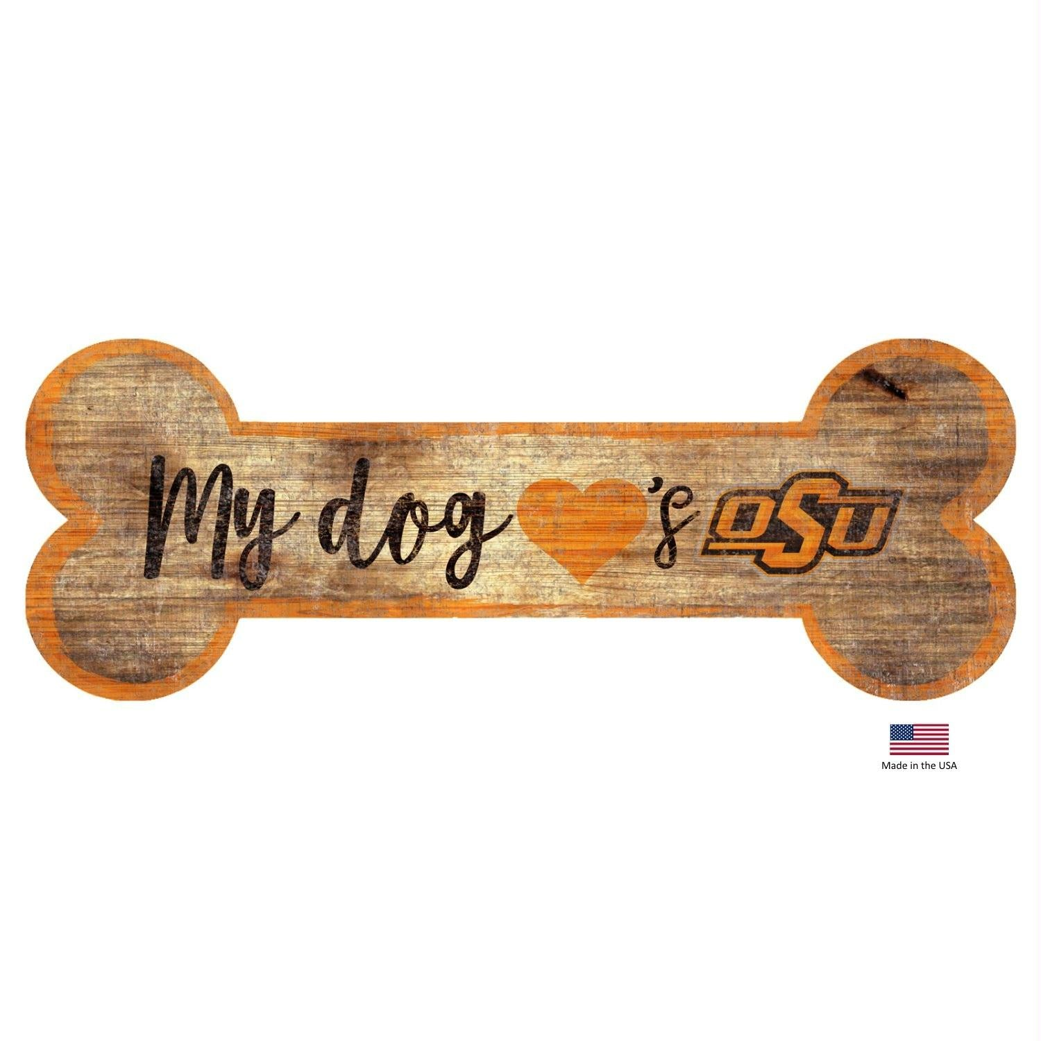 Oklahoma State Cowboys Distressed Dog Bone Wooden Sign - staygoldendoodle.com