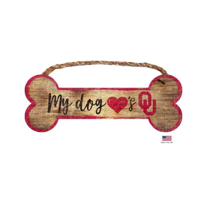 Oklahoma Sooners Distressed Dog Bone Wooden Sign - staygoldendoodle.com