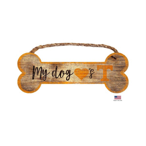 Tennessee Volunteers Distressed Dog Bone Wooden Sign - staygoldendoodle.com