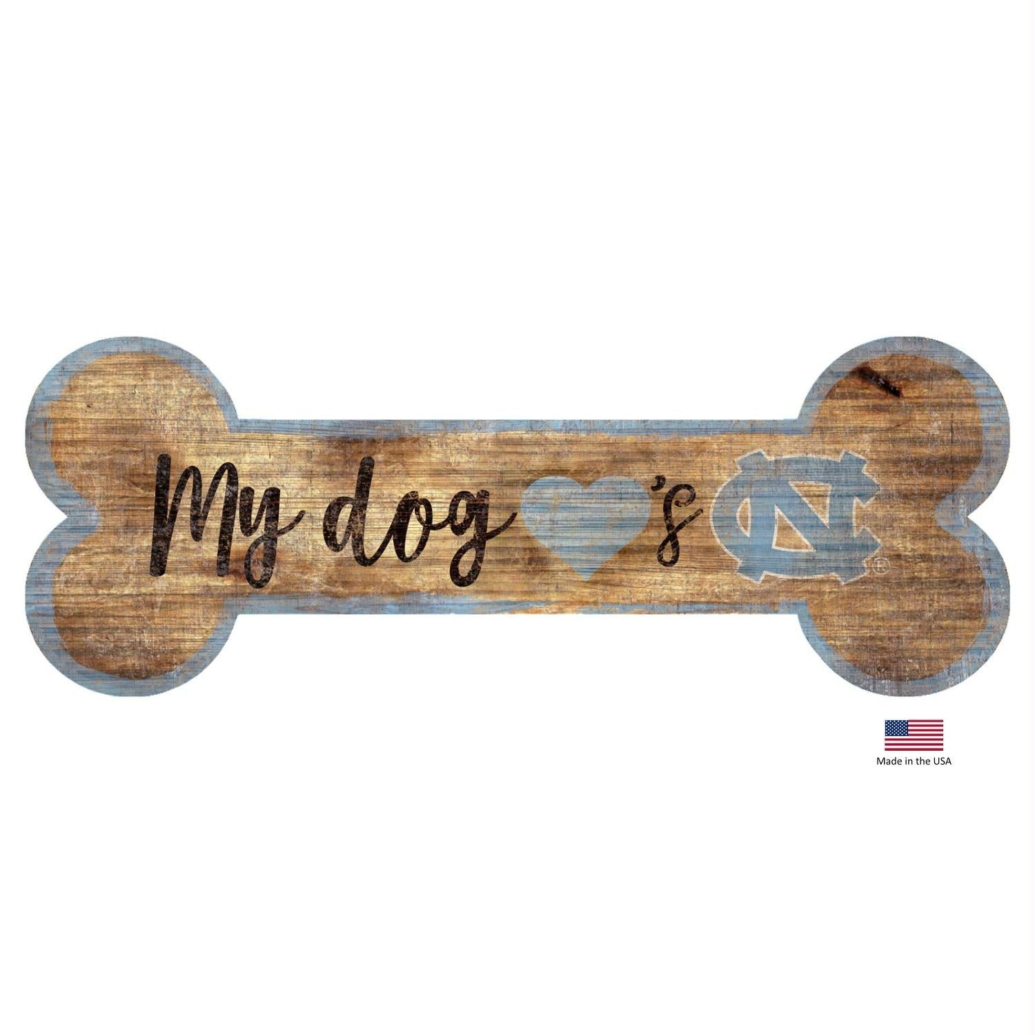 North Carolina Tarheels Distressed Dog Bone Wooden Sign - staygoldendoodle.com