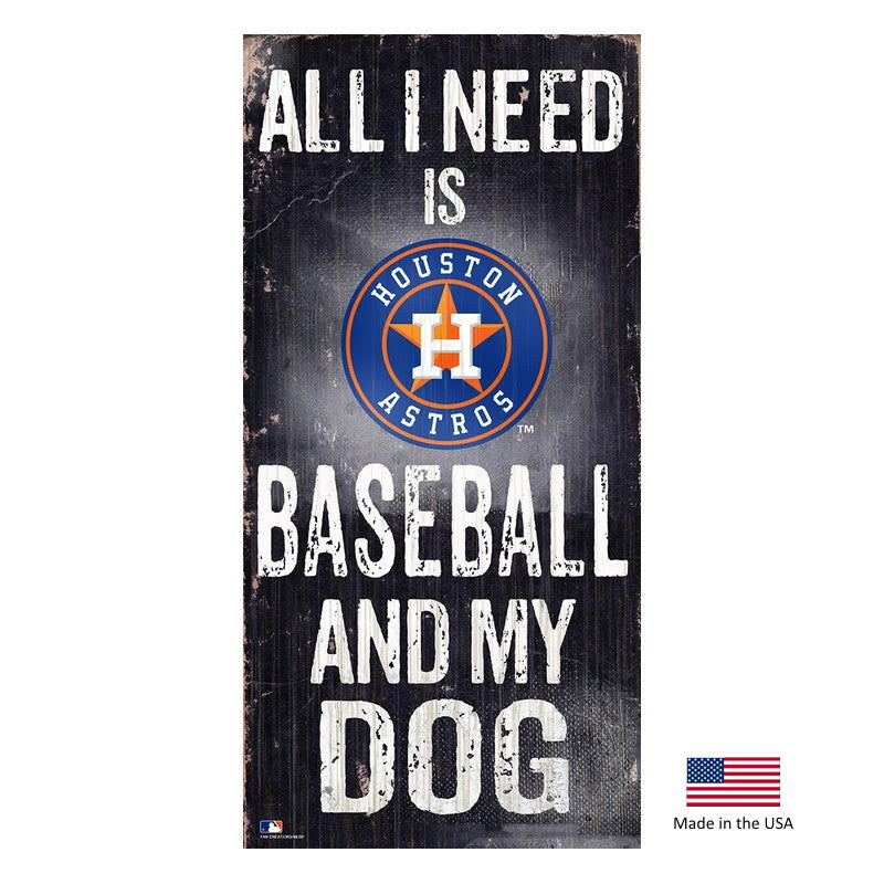 Houston Astros Distressed I Love Baseball And My Dog Sign - staygoldendoodle.com