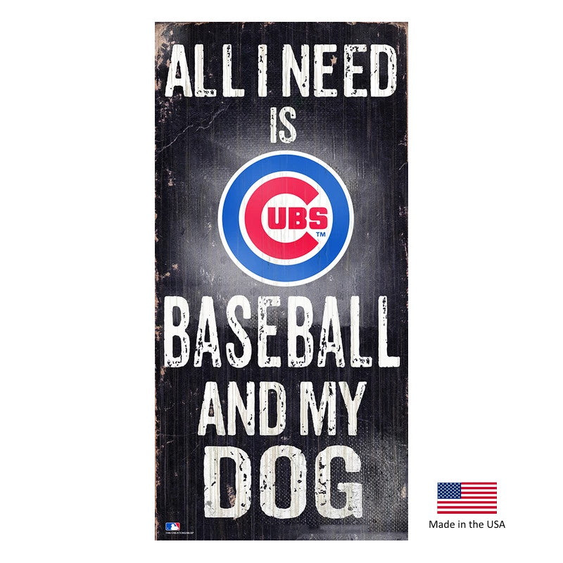Chicago Cubs Distressed Baseball And My Dog Sign - staygoldendoodle.com