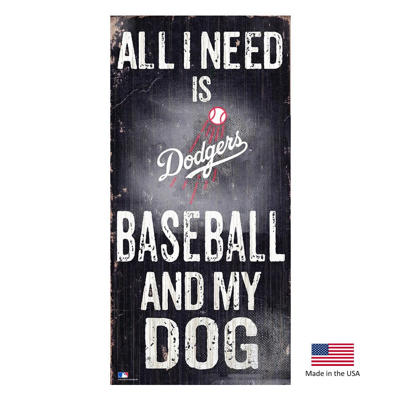 Los Angeles Dodgers Distressed Baseball And My Dog Sign - staygoldendoodle.com