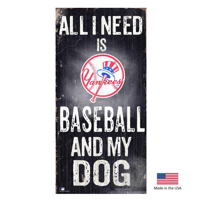 New York Yankees Distressed Baseball And My Dog Sign - staygoldendoodle.com