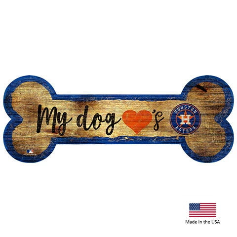 Houston Astros Distressed Dog Bone Wooden Sign - staygoldendoodle.com