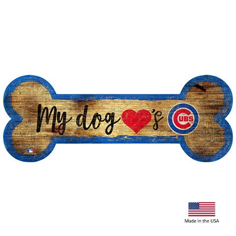 Chicago Cubs Distressed Dog Bone Wooden Sign - staygoldendoodle.com