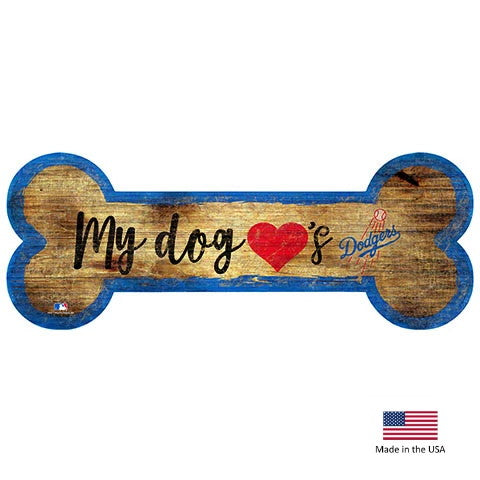 Los Angeles Dodgers Distressed Dog Bone Wooden Sign - staygoldendoodle.com