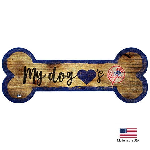 New York Yankees Distressed Dog Bone Wooden Sign - staygoldendoodle.com