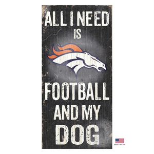 Denver Broncos Distressed Football And My Dog Sign - staygoldendoodle.com