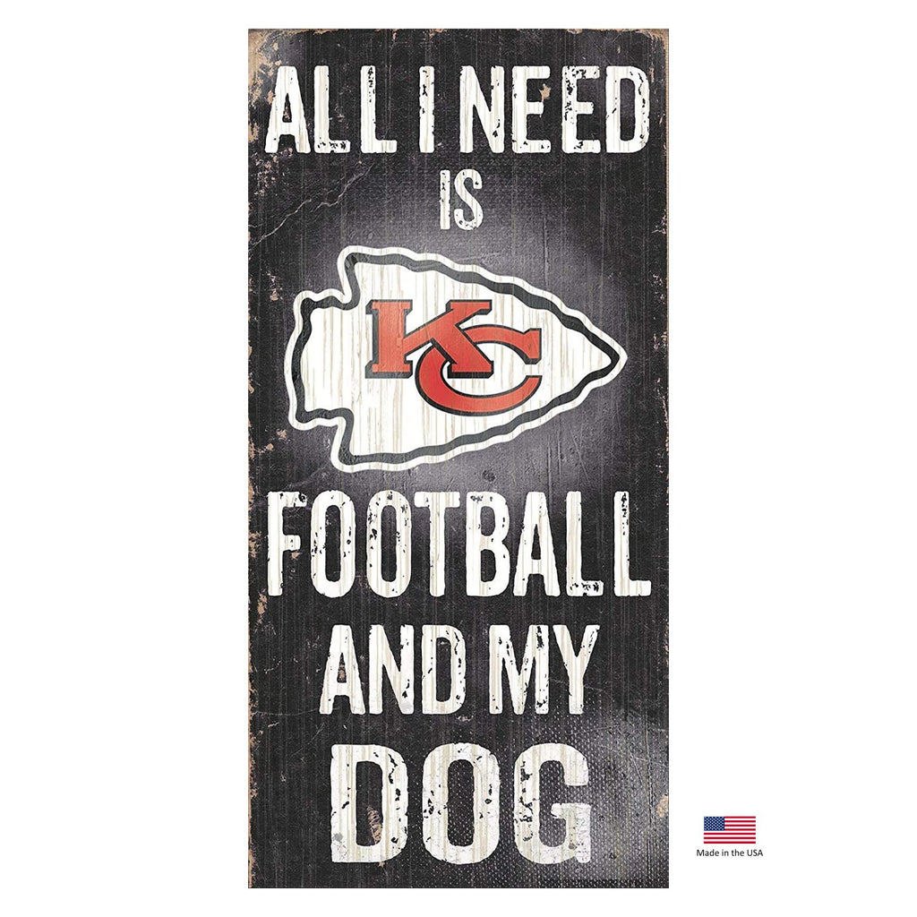 Kansas City Chiefs Distressed Football And My Dog Sign