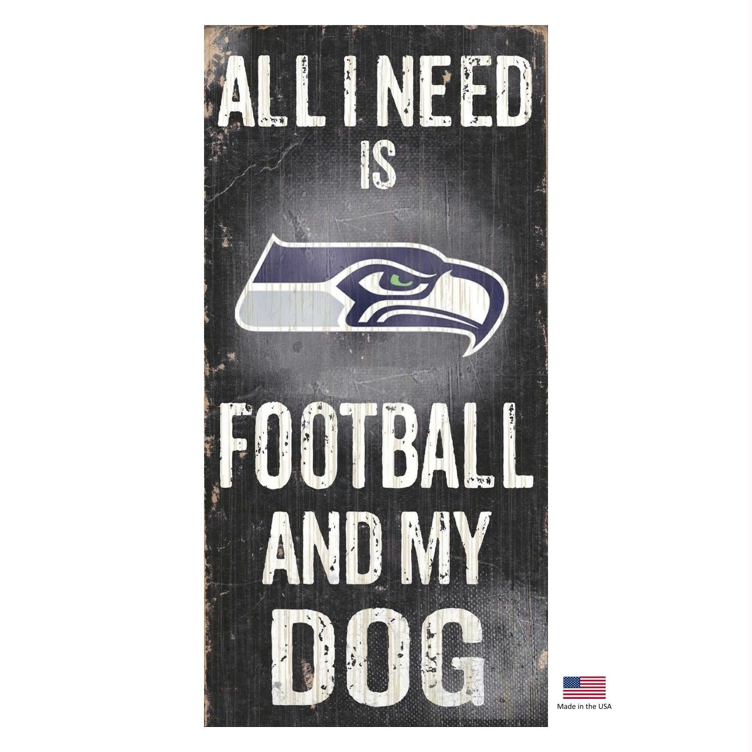 Seattle Seahawks Distressed Football And My Dog Sign - staygoldendoodle.com