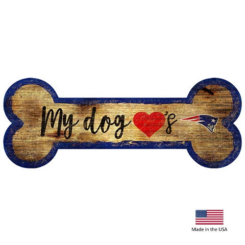 New England Patriots Distressed Dog Bone Wooden Sign - staygoldendoodle.com
