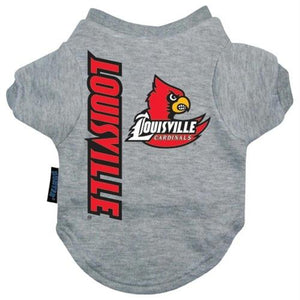 Louisville Cardinals Heather Grey Pet T-Shirt - staygoldendoodle.com