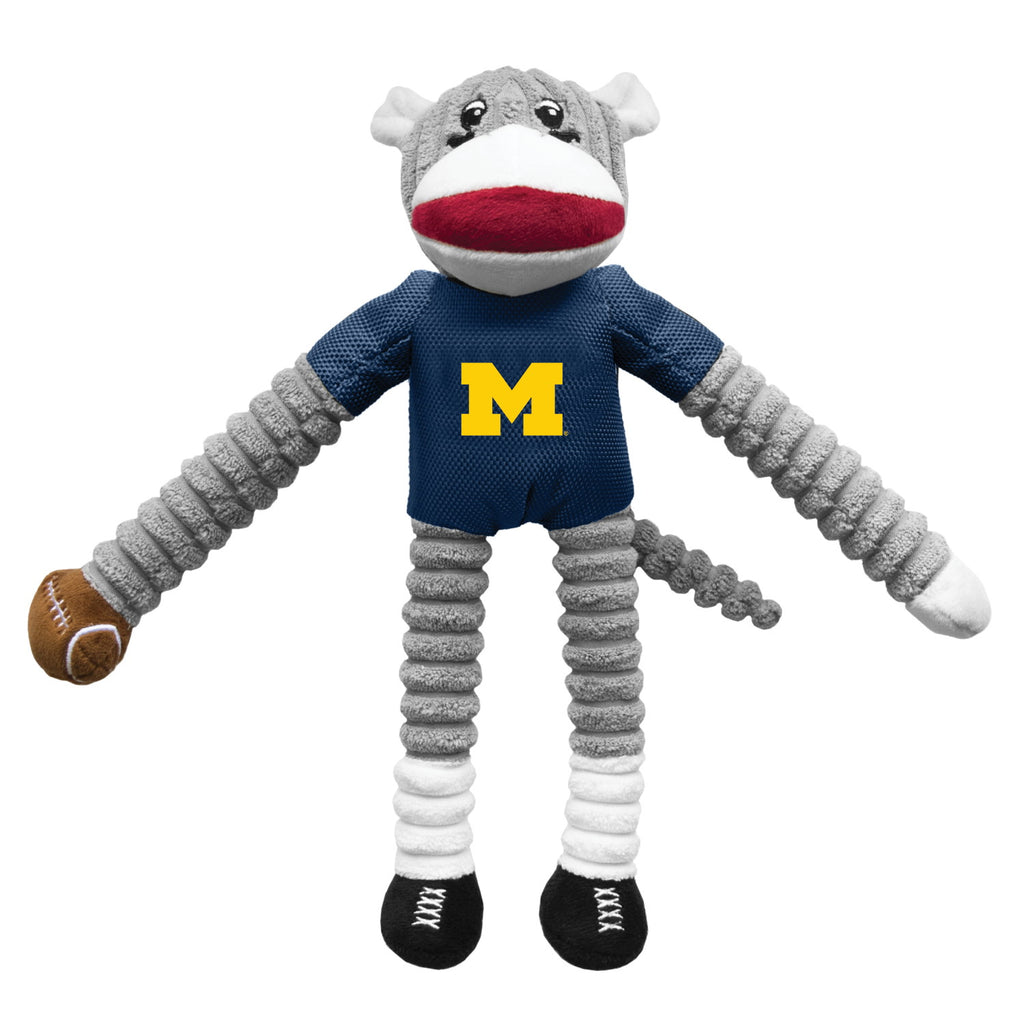 Michigan Wolverines Sock Monkey Pet Toy