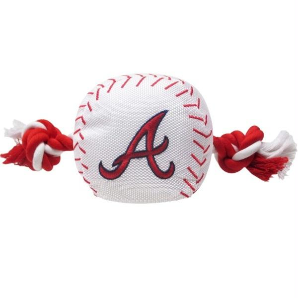 Atlanta Braves Nylon Baseball Rope Tug Toy - staygoldendoodle.com