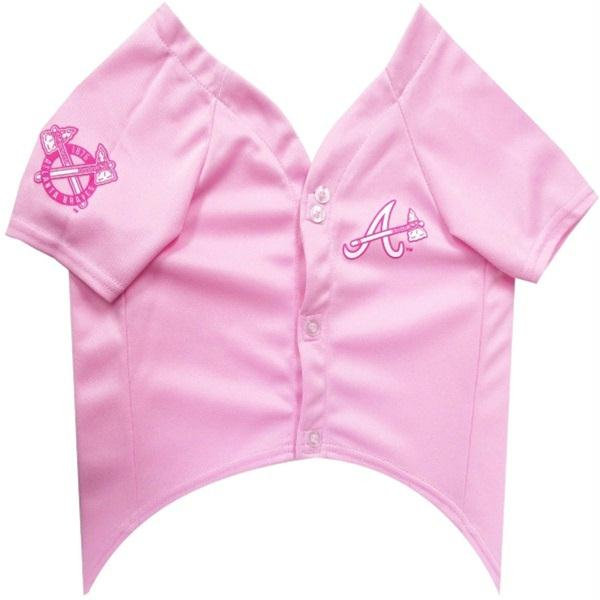 Atlanta Braves Pink Pet Jersey - staygoldendoodle.com