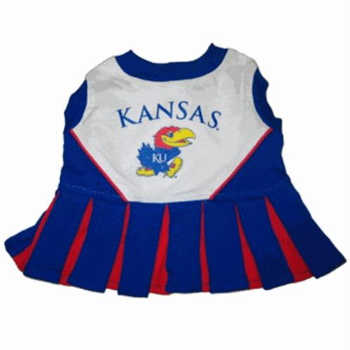 Kansas Jayhawks Cheerleader Dog Dress - staygoldendoodle.com
