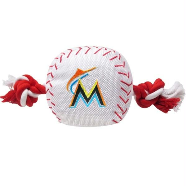 Miami Marlins Nylon Baseball Rope Tug Toy - staygoldendoodle.com