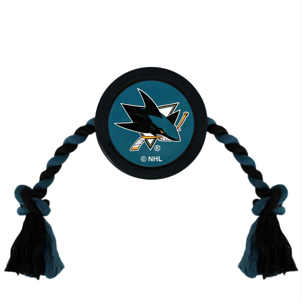 San Jose Sharks Pet Hockey Puck Rope Toy - staygoldendoodle.com