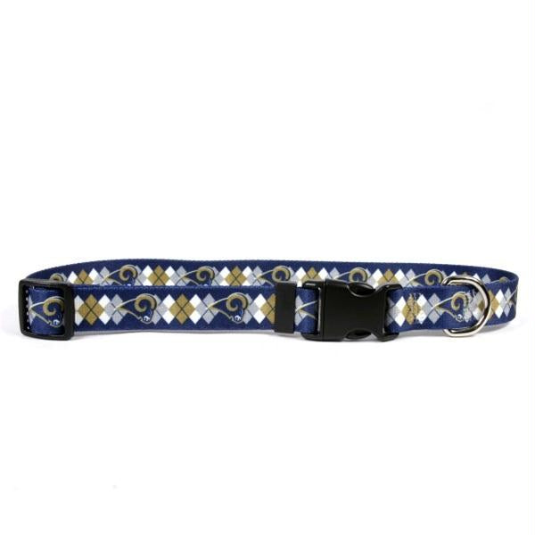 Los Angeles Rams Argyle Nylon Collar - staygoldendoodle.com
